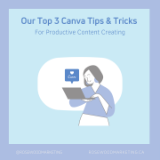 A graphic of a woman holding a laptop looking up Canva tips for content creation for social media