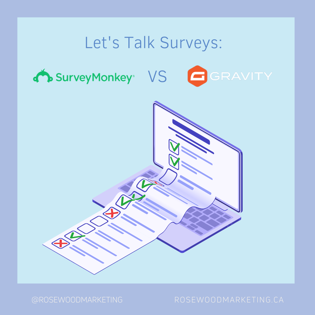 Graphic of a computer with surveys on the screen