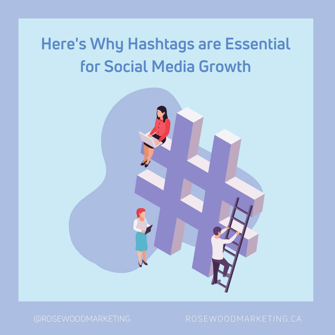 Here's why hashtags are essential for social media growth, with a woman working on a computer sitting on the side of a huge hashtag graphic.
